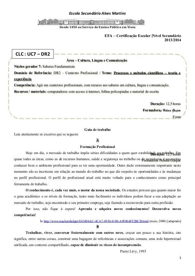 Escola Secundária Alves Martins Desde 1850 ao Serviço do Ensino Público em Viseu EFA – Certificação Escolar |Nível Secundá...