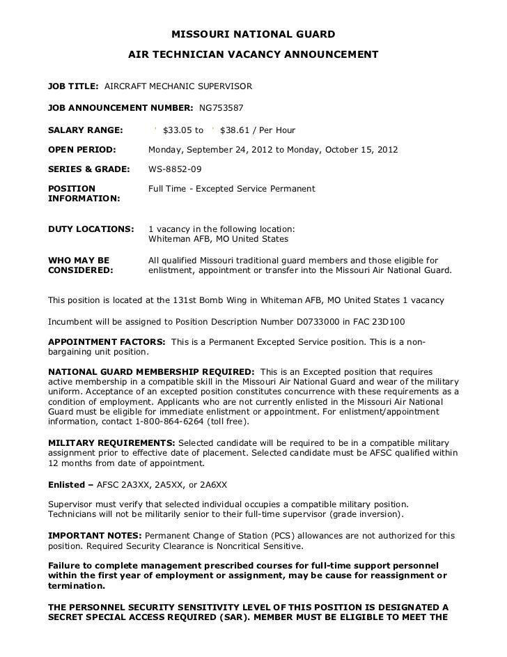 Ng753587 Aircraft Mechanic Supervisor Ws 09 Whiteman Afb Mo Arm .  Sample Mechanic Resume