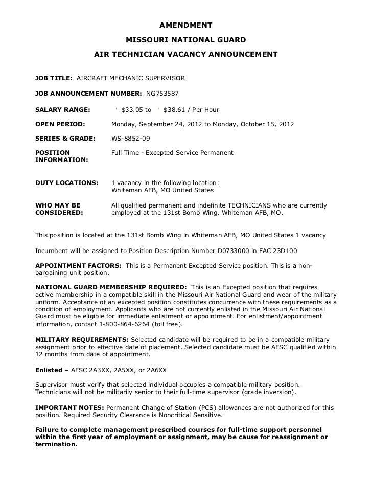 mong job announcement amendment