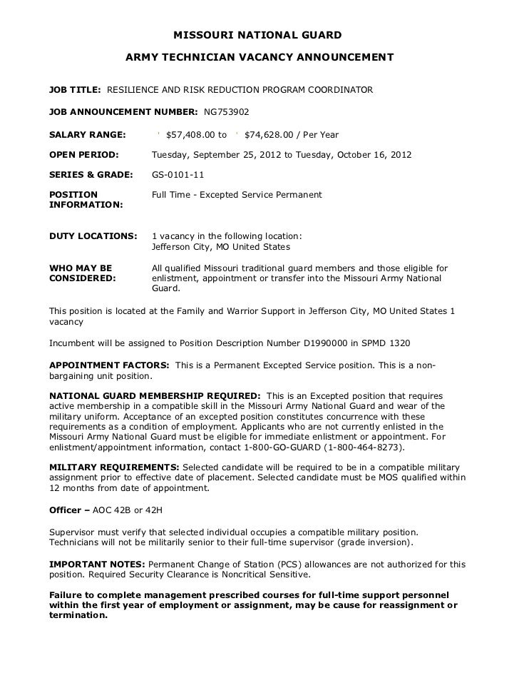 MISSOURI NATIONAL GUARD                  ARMY TECHNICIAN VACANCY ANNOUNCEMENTJOB TITLE: RESILIENCE AND RISK REDUCTION PROG...