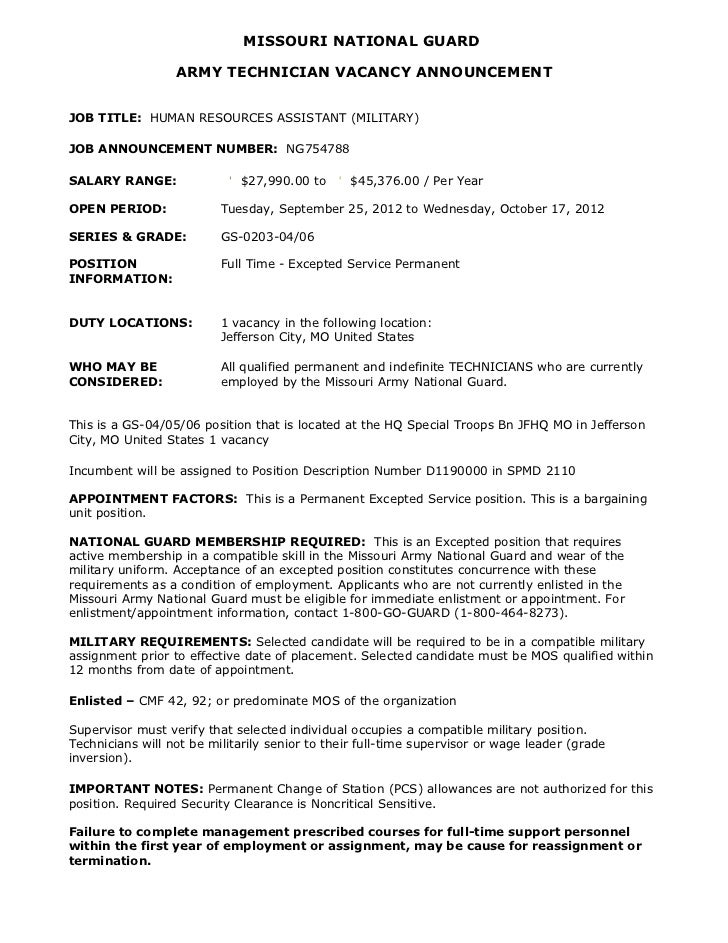 MISSOURI NATIONAL GUARD                  ARMY TECHNICIAN VACANCY ANNOUNCEMENTJOB TITLE: HUMAN RESOURCES ASSISTANT (MILITAR...
