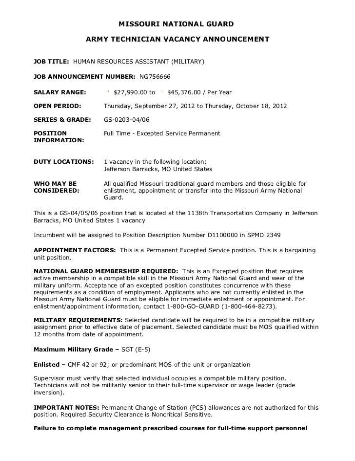 MISSOURI NATIONAL GUARD                  ARMY TECHNICIAN VACANCY ANNOUNCEMENTJOB TITLE: HUMAN RESOURCES ASSISTANT (MILITAR...