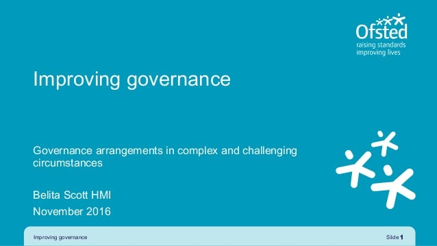 Improving governance Governance arrangements in complex and challenging circumstances Belita Scott HMI November 2016 Impro...