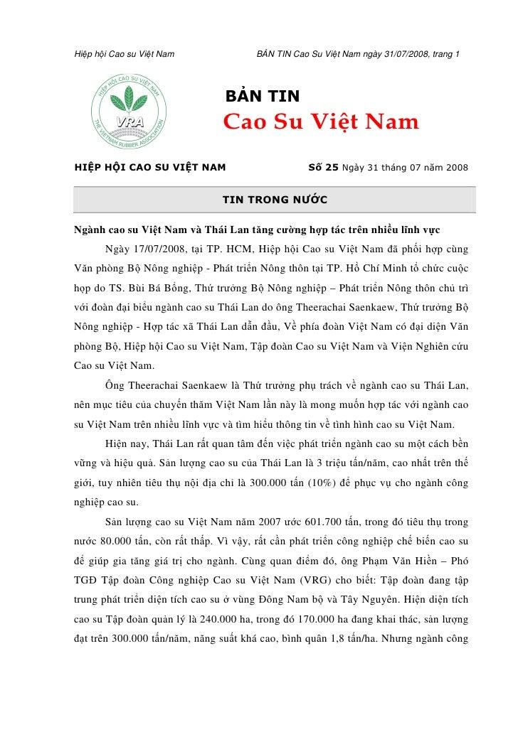 Hi p h i Cao su Vi t Nam                    B N TIN Cao Su Vi t Nam ngày 31/07/2008, trang 1                              ...