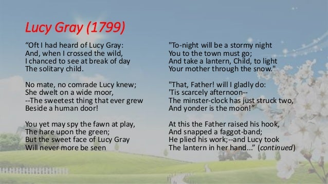 wordsworth lucy poems