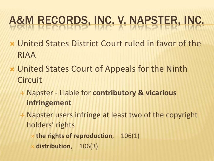 an analysis of the napster vs music industry lawsuit Music industry experts and napster officials said the ruling might force napster to shut down but today's order by the three-judge panel of the united states court of appeals for the ninth circuit does not mandate napster's immediate closing.