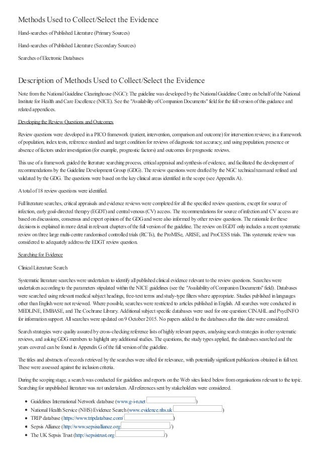 Methods Used to Collect/Select the Evidence Hand-searches ofPublished Literature (PrimarySources) Hand-searches ofPublishe...