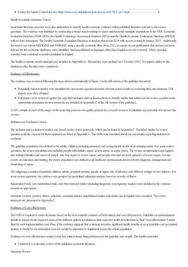 Center for Sepsis Control&Care (http://www.cscc.uniklinikum-jena.de/cscc/en/CSCC-p-7.html ) HealthEconomic Literature Sear...
