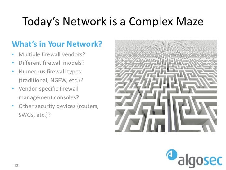 Today's Network is a Complex MazeWhat's in Your Network?• Multiple firewall vendors?• Different firewall models?• Numerous...