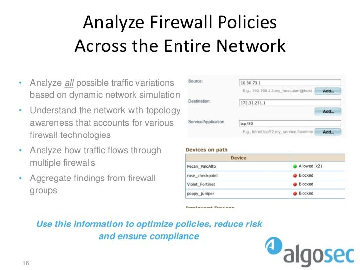 Analyze Firewall Policies              Across the Entire Network• Analyze all possible traffic variations  based on dynami...