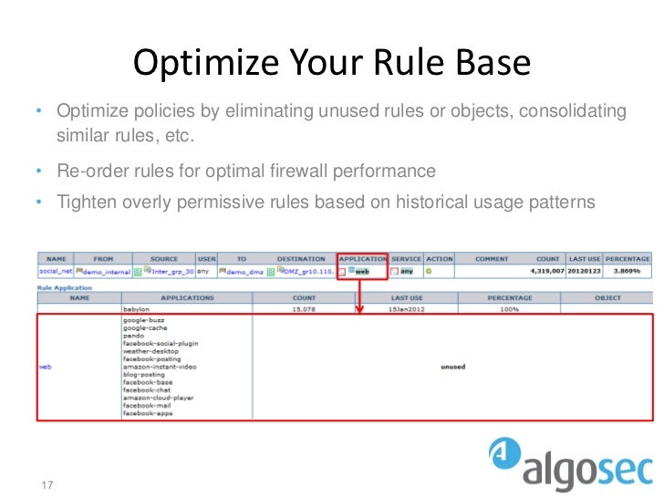 Optimize Your Rule Base• Optimize policies by eliminating unused rules or objects, consolidating  similar rules, etc.• Re-...