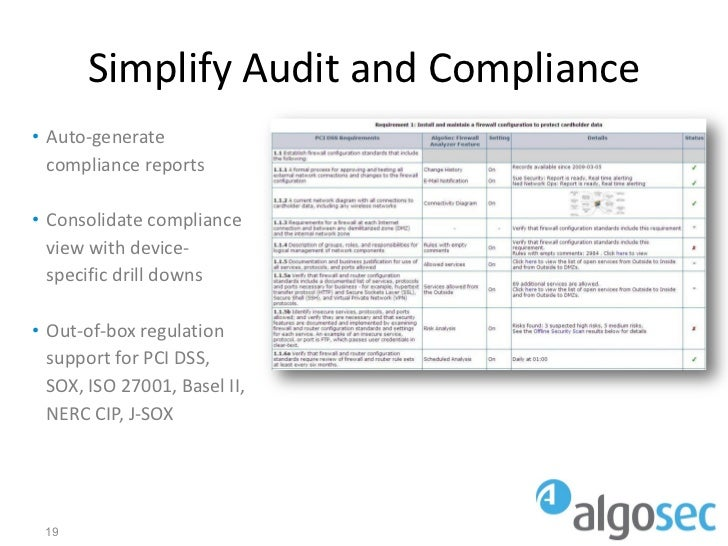 Simplify Audit and Compliance• Auto-generate  compliance reports• Consolidate compliance  view with device-  specific dril...