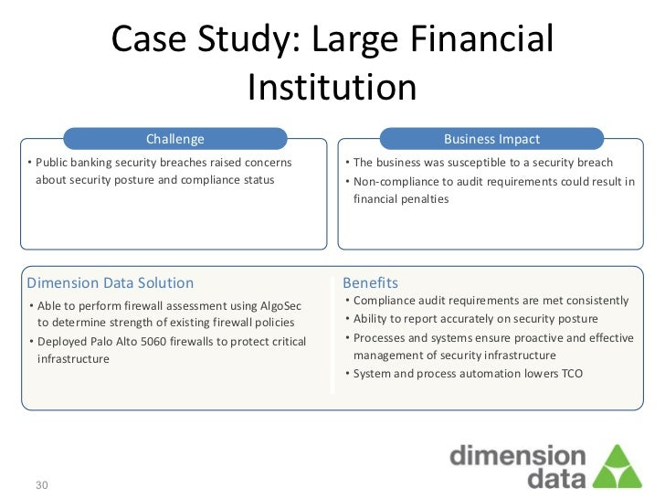 Case Study: Large Financial                        Institution                       Challenge                            ...