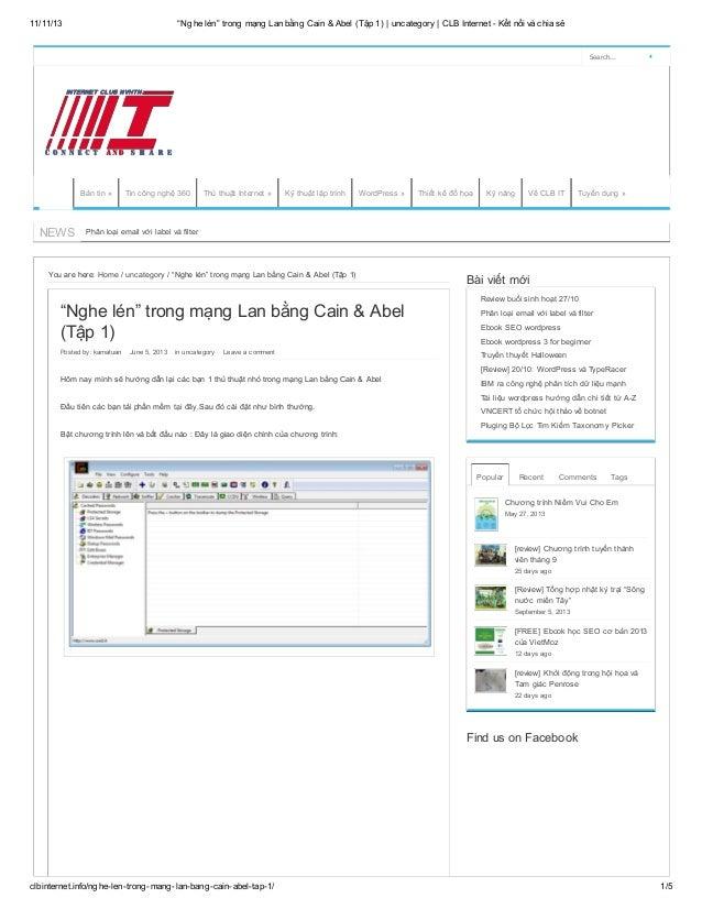 """11/11/13  """"Nghe lén"""" trong mạng Lan bằng Cain & Abel (Tập 1)   uncategory   CLB Internet - Kết nối và chia sẻ  Search...  ..."""