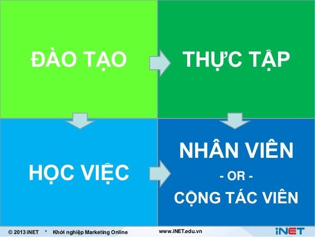 ĐÀO TẠO  HỌC VIỆC  THỰC TẬP  NHÂN VIÊN - OR -  CỘNG TÁC VIÊN © 2013 iNET  *  Khởi nghiệp Marketing Online  www.iNET.edu.vn