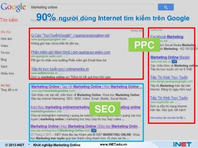 90% người dùng Internet tìm kiếm trên Google PPC  SEO  © 2013 iNET  *  Khởi nghiệp Marketing Online  www.iNET.edu.vn