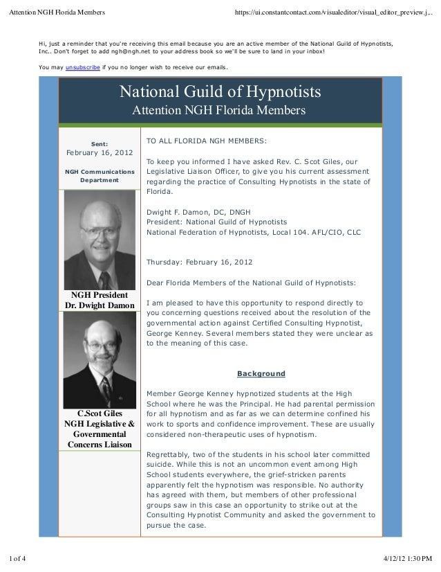 Hi, just a reminder that you're receiving this email because you are an active member of the National Guild of Hypnotists,...