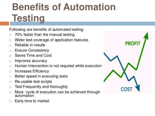 Benefits of Automation Testing Following are benefits of automated testing:  70% faster than the manual testing  Wider t...
