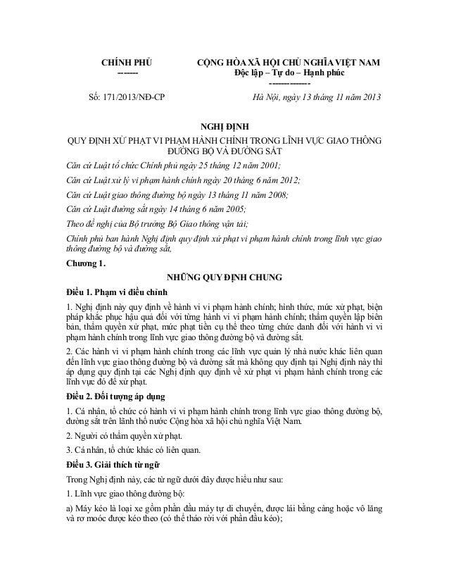 CHÍNH PHỦ ------- CỘNG HÒA XÃ HỘI CHỦ NGHĨA VIỆT NAM Độc lập – Tự do – Hạnh phúc -------------- Số: 171/2013/NĐ-CP Hà Nội,...