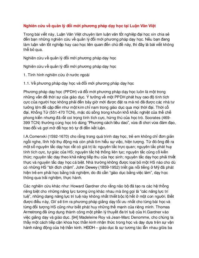 Nghiên cứu về quản lý đổi mới phương pháp dạy học tại Luận Văn Việt Trong bài viết này, Luận Văn Việt chuyên làm luận văn ...