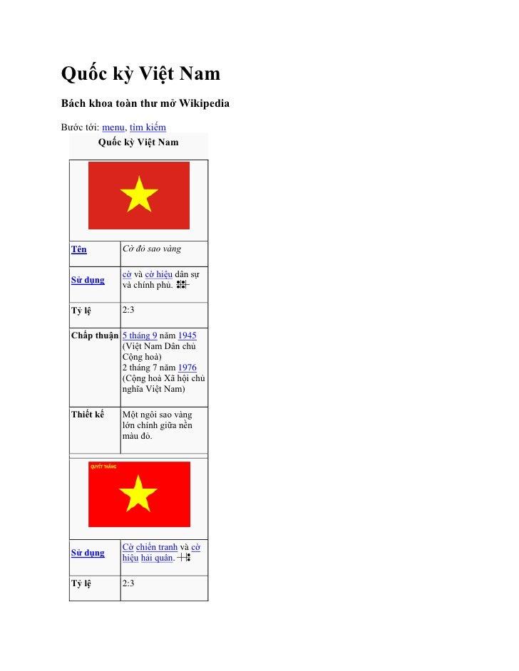 Quốc kỳ Việt Nam<br />Bách khoa toàn thư mở Wikipedia<br />Bước tới: menu, tìm kiếm<br />Quốc kỳ Việt NamTênCờ đỏ sao vàng...