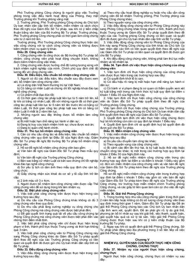 HUỲNH BÁ HỌC 4/9 NGHỊ ĐỊNH SỐ 75/2000/NĐ-CPPhó Trưởng phòng Công chứng là người giúp việc Trưởngphòng trong việc điều hành...