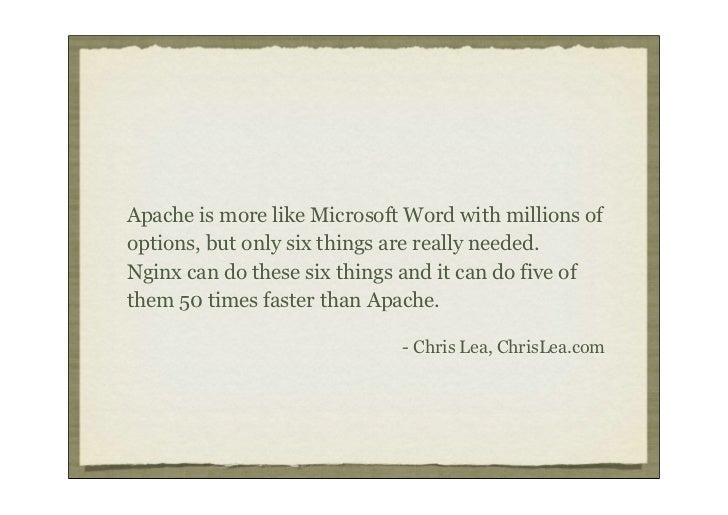 Apache is more like Microsoft Word with millions ofoptions, but only six things are really needed.Nginx can do these six t...