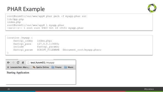 PHAR  Example  root@hzvm01:/var/www/app# phar pack -f myapp.phar src  lib/App.php  index.php  root@hzvm01:/var/www/app# l ...