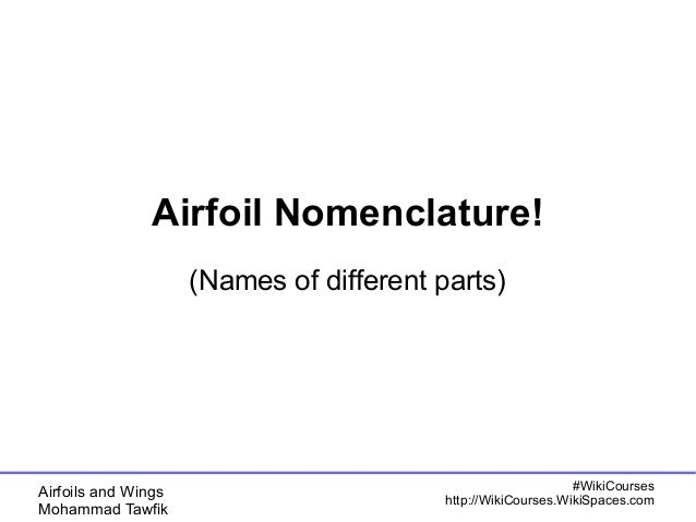 Airfoil Nomenclature!  (Names of different parts)  Airfoils and Wings  Mohammad Tawfik  #WikiCourses  http://WikiCourses.W...