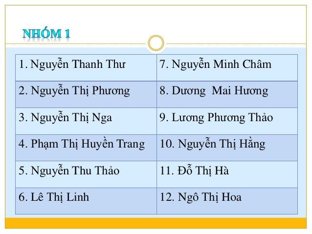 1. Nguyễn Thanh Thư 7. Nguyễn Minh Châm 2. Nguyễn Thị Phương 8. Dương Mai Hương 3. Nguyễn Thị Nga 9. Lương Phương Thảo 4. ...