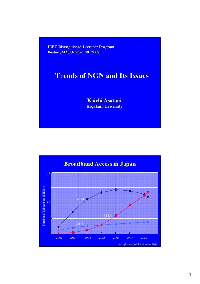 1 Trends of NGN and Its Issues Koichi Asatani Kogakuin University IEEE Distinguished Lecturer Program Boston, MA, October ...