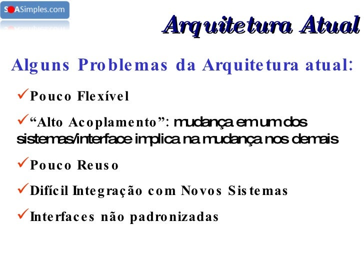 """Alguns Problemas da Arquitetura atual: <ul><li>Pouco Flexível </li></ul><ul><li>"""" Alto Acoplamento"""":  mudança em um dos si..."""