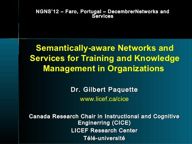 NGNS ' 12 – Faro, Portugal – DecembrerNetworks and                        Services Semantically-aware Networks andServices...