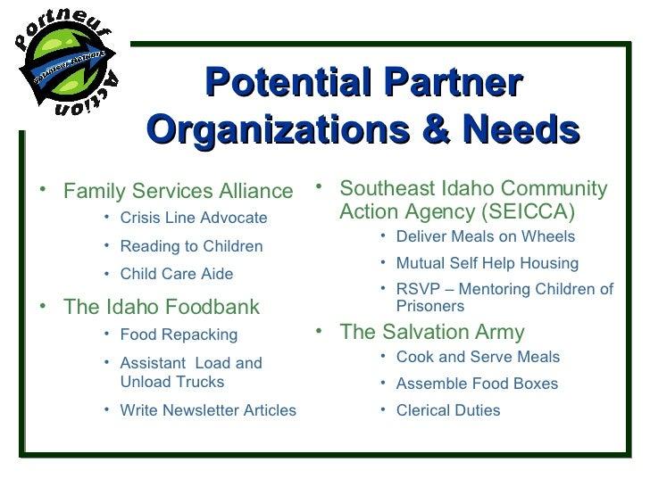 Potential Partner Organizations & Needs <ul><li>Family Services Alliance </li></ul><ul><ul><ul><li>Crisis Line Advocate </...