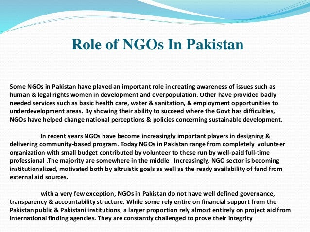 The role of NGOs and communities