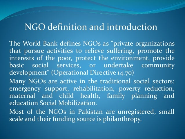Role Of Ngo In Pakistan