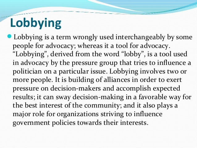 the role of the legislation in making a policy on advocacy for obesity Cancer care is a prime area where individual nurse advocacy can play an important role in advocacy in the legislative similarly in the policy-making.