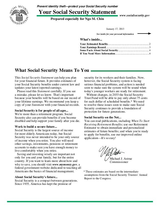 Prevent identity theft—protect your Social Security number Your Social Security Statement Prepared especially for Ngo M. C...