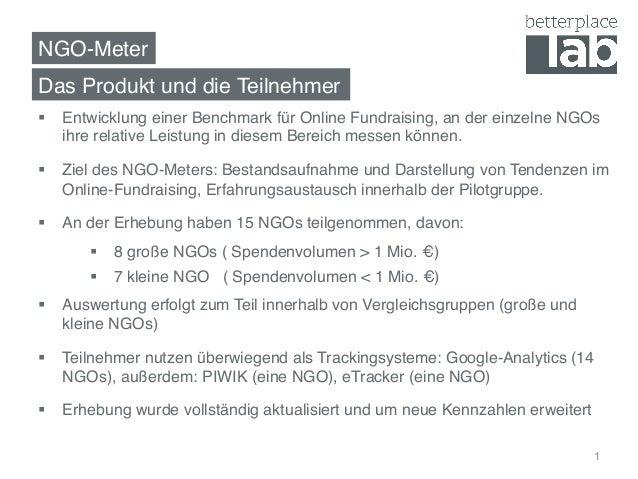 NGO-Meter! § Entwicklung einer Benchmark für Online Fundraising, an der einzelne NGOs ihre relative Leistung in diesem B...