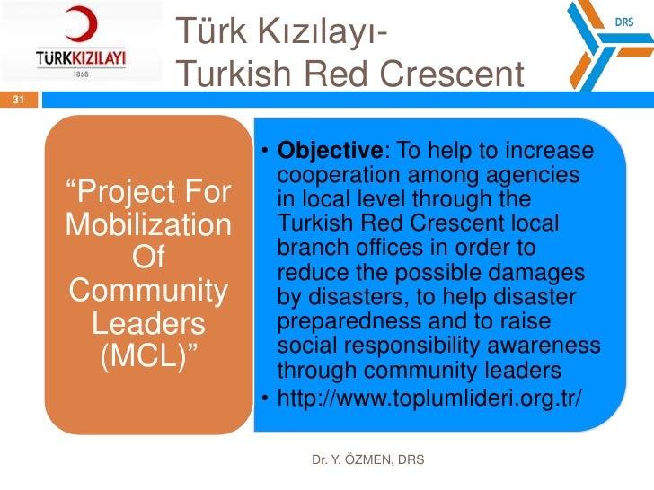 Türk Kızılayı- TurkishRedCrescent<br />Dr. Y. ÖZMEN, DRS<br />29<br />The activity and service areas;<br />Disaster Prepar...