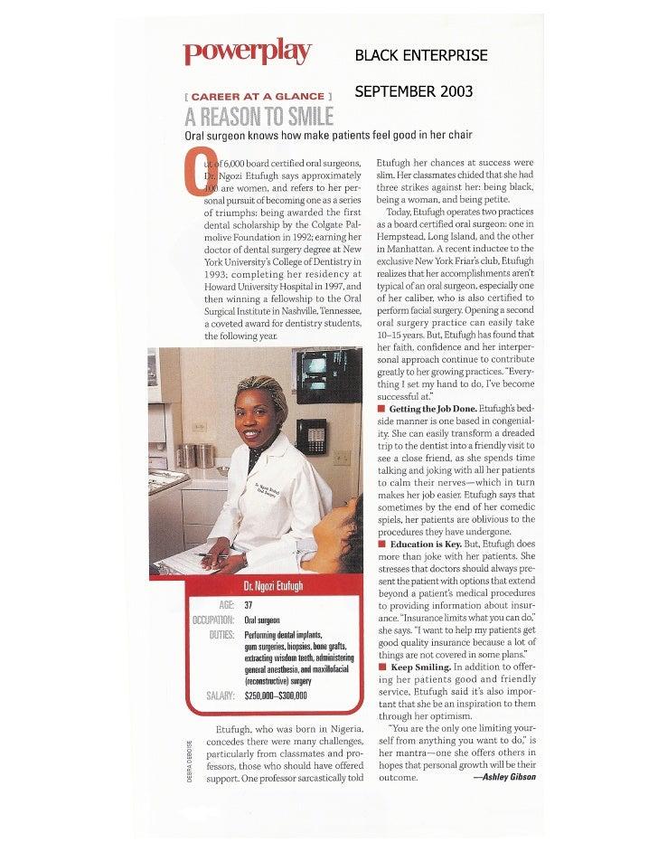 Dr. Ngozi Etufugh in Black Enterprise