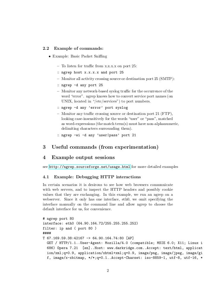 Ngrep Commands