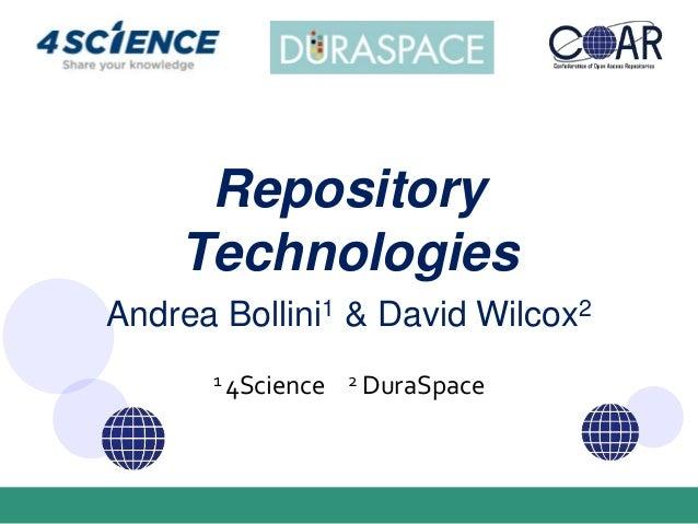 Andrea Bollini1 & David Wilcox2 1 4Science 2 DuraSpace Repository Technologies