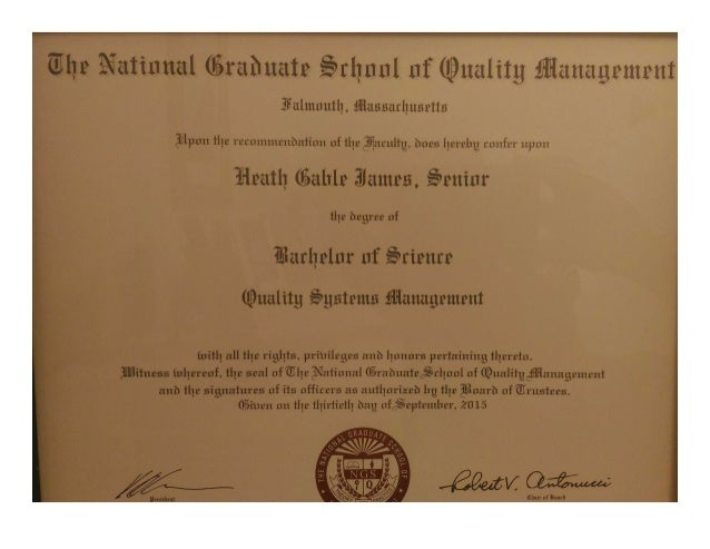 national graduate school of quality systems management bachelor s deg  national graduate school of quality systems management bachelor s degree