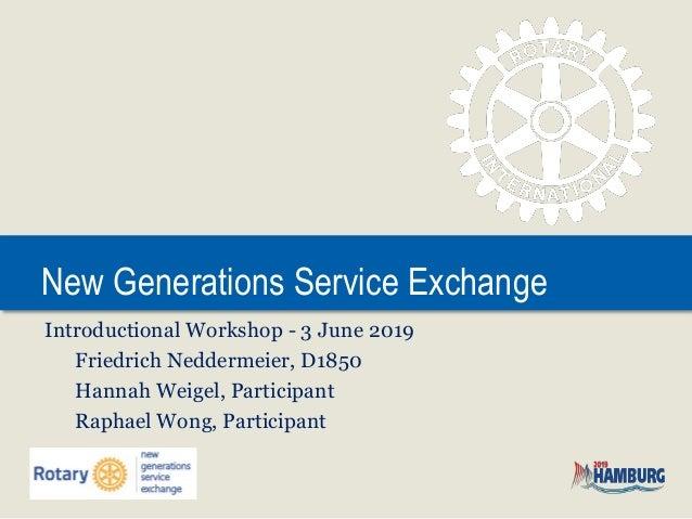 New Generations Service Exchange Introductional Workshop - 3 June 2019 Friedrich Neddermeier, D1850 Hannah Weigel, Partici...