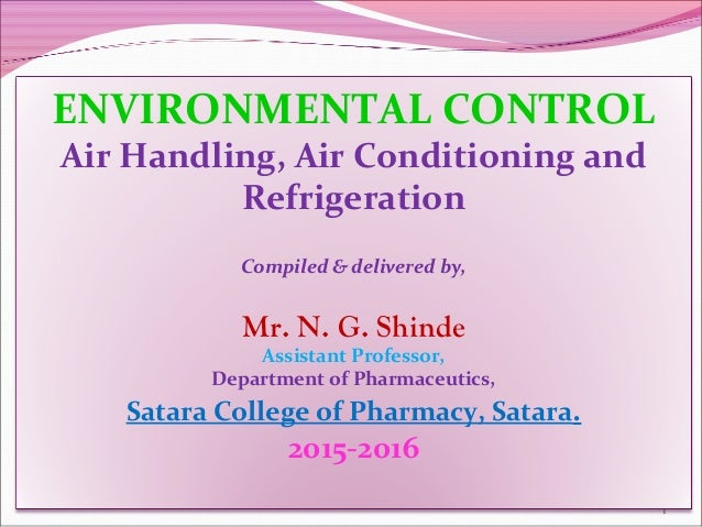 Environmental Control Systems : Hvac system in pharmaceutical industry