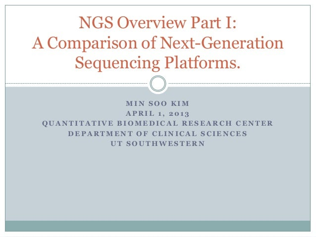 NGS Overview Part I:A Comparison of Next-Generation     Sequencing Platforms.                MIN SOO KIM                AP...