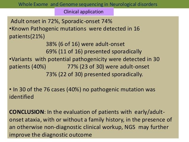 Genetic Mutation May Cause Early Onset >> Ngs presentation