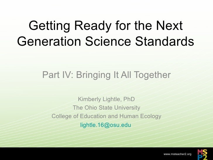 Getting Ready for the Next Generation Science Standards