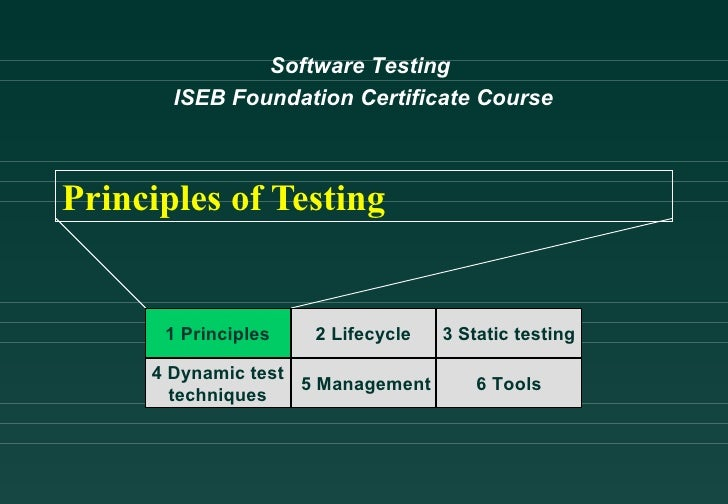 Software Testing       ISEB Foundation Certificate CoursePrinciples of Testing      1 Principles   2 Lifecycle   3 Static ...